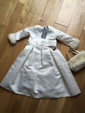 Childs Winter Bridesmaids Flower-girl Dress In Cream Age 2 With Matching Bag