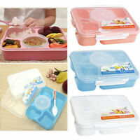 5 Compartment Food Storage Container Microwave Lunch Bento Spoon w/ Case Bo R0W9