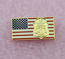 FBI US FLAG PIN - FBI BADGE LOGO - POLICE  LAW ENFORCEMENT - LEO