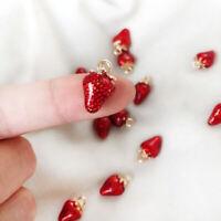 2 STÜCKE Erdbeere Charms Handmade DIY Handwerk Emaille Legierung Schmuckher XJ