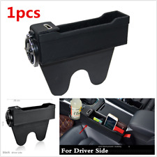 1Pcs Black Leather Car Seat Gap Storage Box Console Side Pocket W/Cup Holder