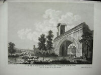 Gravur Origi XVIII 1787 Abtei Notre-Dame D'Ourscamp Antik Eingang Tavernier