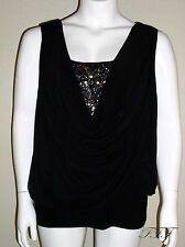 J.R. Nites NWT Plus Sz 3X Black V Neck Sequin Blouson Matte Jersey Top $109 5154
