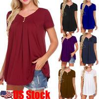 Women's V-Neck A-Line Tunic Short Sleeve Loose Tops T-Shirt Plus Loose Blouse US