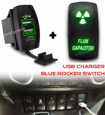 FLUX CAPACITOR Green LED Toggle Rocker Laser Switch 5PIN ON-OFF Dual USB Charger