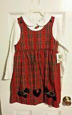 NEW VNTG Girls 2 PC 6X Good lad Red Jumper Dress Scotty Dog/Heart Applique Red