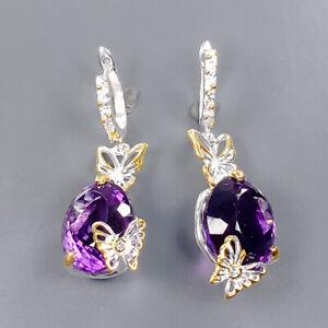 55 ct+ IF gemstone Amethyst Earrings Silver 925 Sterling   /E57626