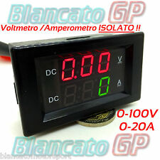 2in1 ISOLATO VOLTMETRO 0-100V AMPEROMETRO 0-20A da pannello isolated ammeter DC