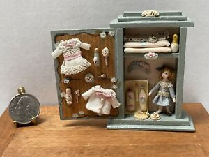Artisan A GONZALEZ Tiny Doll & Accessories in Cabinet Dollhouse Miniature 1:12