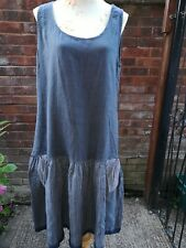 Talia benson Linen Drop Waist Linen Dress Smokey Charcoal Grey 16