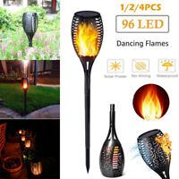 Solar Powered 96 LED Flame Flickering Effect Lights Torch Garden Waterproof Lamp