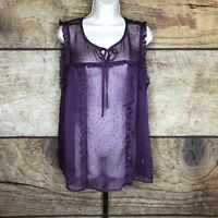 ModCloth Womens 1X Blouse Sleeveless Top Purple Tie Front Sheer Tank NEW
