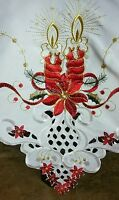 """White 72x72"""" Square Christmas Red Poinsettia Candle Ribbon Tablecloth napkins"""