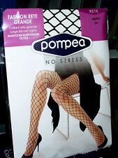 3 COLLANT POMPEA rete grande fashion sexy Tg 3/4 nero elasticizzato con tassello