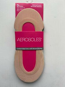 Aerosoles Microfiber Seamless Liners Size 9-11 3 pair Nude Shoe Sz 5-10 NWT