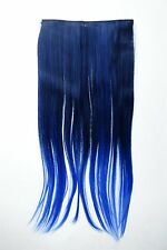 Extension Hair Extension Clip-In 5 Clip Smooth Bi-Coloured Ombre Blue 60cm Lang