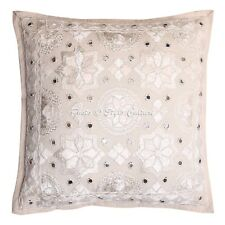 Home Decorative Cotton Pillow Case Cover Indian Embroidered Mirror Cushion Cover