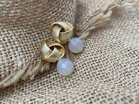 RRP £35 Gold Pleated Earrings Natural Quartz Ottoman Baroque