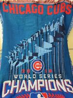 Chicago Cubs MLB World Series Champions 2016 Woven Tapestry Throw Blanket 44x59