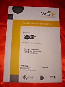 Singapore, WSTP 2002 Certificate of Attendance, UNC