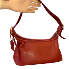 Coach Red Legacy Leather Hobo Shoulder Small Handbag Vintage USA