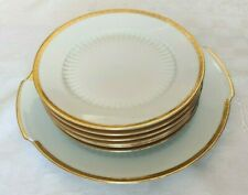Service a dessert Mitterteich Bavaria en porcelaine signée modèle blanc et or