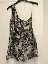 Miso Black Grey White Print One Shoulder Playsuit - Brand New Size 8