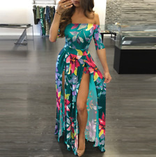 Plus Size Women's Floral Long Maxi Dress Split Cocktail Party Beach Sundress USA