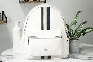 Coach 4411 Charlie Leather Varsity Stripe Chalk/Green Large Backpack BookBag
