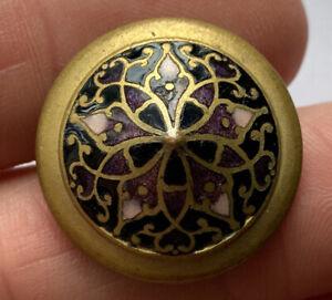 "Antique Vintage Champleve Enamel Button With Star Design 7/8"""