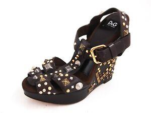Dolce & Gabbana D&g Sandales Compensées Marron Cuir Femmes Taille Ue 36 US 5.5