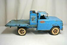 "Vintage TONKA Farms Blue 14"" Pressed Steel Toy Truck"