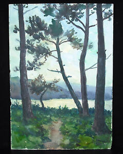 Pine Forest IN Bords De Sea Watercolour Signed Val Ferrant? Determine, To 1950