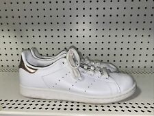 Adidas Stan Smith Womens Athletic Skate Lifestyle Shoes Size 10 White Rose Gold
