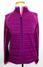 New Women's Annika Cutter & Buck Plum/Pink Striped Full Zip Knit Sweater M INT