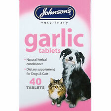 Johnsons 40 Garlic Tablets For Dogs & Cats Natural Herb Remedy For Fleas & Worms