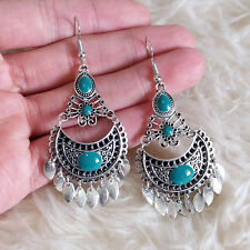 Charm Beads Drop Dangle Hook Earrings New Vintage Womens Anti-Silver Color Metal