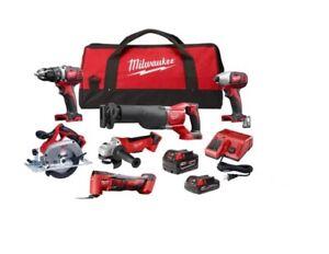 Milwaukee 2697-26 18V Cordless 6-Tool Combo Kit w/2 Batteries, Charger & Bag NEW