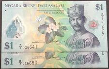 Brunei $1 polymer D3 726641 - 650 cons nos 10 pcs 2011 unc
