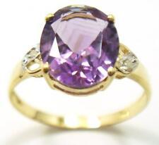 BESTJEWELLERY 10KT YELLOW GOLD NATURAL AMETHYST & DIAMOND RING SIZE 6.5  R707