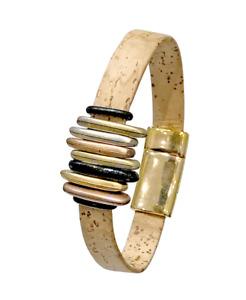 Natural Cork Bracelet - Copper, Silver & Gold Shades  | Vegan Jewellery Gift