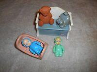 LITTLE TIKES TOY BOX, CRADLE, TEDDY BEAR, CAT, 2 BABY DOLLS DOLLHOUSE SIZE LOT