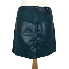 NEW M&S Teal Dark Green Faux Leather Suede Button Down Mini Skirt Size 16