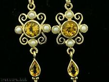 E123 Lovely Genuine 9ct Yellow Gold NATURAL Citrine & Pearl Drop Earrings Scroll