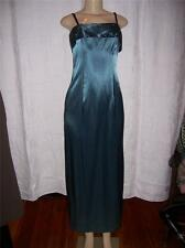 Ladies Evening Dress Sapphire Satin with Black Velvet straps Size Small  NEW
