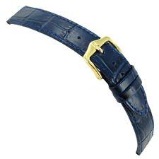 14mm Hirsch Louisianalook Alligator Grain Genuine Leather Blue Watch Band Strap