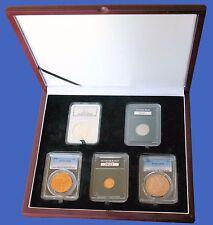 Display Box 5 Coin NGC/PCGS/Premier/Lil Bear Certified Slab Wood Mahogany Finish