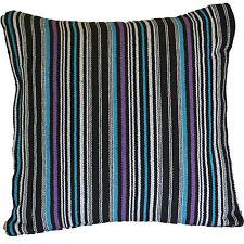 "Blue Purple STRIPE Cushion Covers 16"" 40cm Cotton Machine Washable Sofa Scatter"