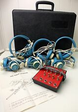 Vintage Telex Headsets & Jack 610-1 - Set of 6 - Headphones Carrying Case