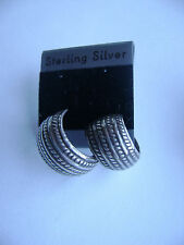 Sterling Silver Engraved Half Circle Cuff Style Stud Earrings New Old Stock